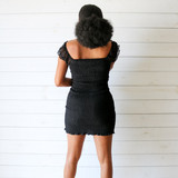 -Black Color -Sweetheart Neckline -Puff Sleeves -Front Tie -Keyhole Cutout in Front -Smocked on Front and Back -Ruffle Bottom -Dress  Materials: 97% Polyester | 3% Spandex  HF21G456 DRESS BLK