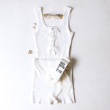 -White Color -Ribbed -Corset Lace Up Front -Thick Straps -Matching Set (Top) -Crop Tank  Materials: 70% Viscose | 30% Polyester   W3126 CROP WHT