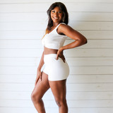 -White Color -Ribbed -Mid Thigh Length -Elastic Waistband -Matching Set (Bottoms) -Bike Shorts  Materials: 70% Viscose   30% Polyester   W3126 SHORT WHT
