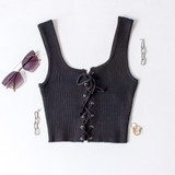 -Black Color -Ribbed -Corset Lace Up Front -Thick Straps -Matching Set (Top) -Crop Tank  Materials: 70% Viscose | 30% Polyester   W3126 CROP BLU