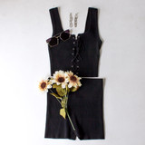 -Black Color -Ribbed -Corset Lace Up Front -Thick Straps -Matching Set (Top) -Crop Tank  Materials: 70% Viscose   30% Polyester   W3126 CROP BLU