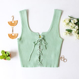 -Green Color -Ribbed -Corset Lace Up Front -Thick Straps -Matching Set (Top) -Crop Tank  Materials: 70% Viscose | 30% Polyester   W3126 CROP GRN