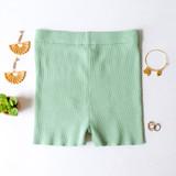 -Green Color -Ribbed -Mid Thigh Length -Elastic Waistband -Matching Set (Bottoms) -Bike Shorts  Materials: 70% Viscose   30% Polyester   W3126 SHORT GRN