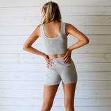 -Grey Color -Ribbed -Mid Thigh Length -Elastic Waistband -Matching Set (Bottoms) -Bike Shorts  Materials: 70% Viscose | 30% Polyester   W3126 SHORT GRY