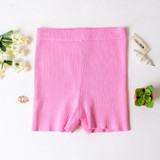 -Pink Color -Ribbed -Mid Thigh Length -Elastic Waistband -Matching Set (Bottoms) -Bike Shorts  Materials: 70% Viscose | 30% Polyester   W3126 SHORT PNK