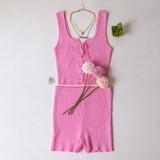 -Pink Color -Ribbed -Mid Thigh Length -Elastic Waistband -Matching Set (Bottoms) -Bike Shorts  Materials: 70% Viscose   30% Polyester   W3126 SHORT PNK
