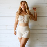 -Tan Color -Ribbed -Corset Lace Up Front -Thick Straps -Matching Set (Top) -Crop Tank  Materials: 70% Viscose | 30% Polyester   W3126 CROP TAN
