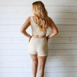 -Tan Color -Ribbed -Mid Thigh Length -Elastic Waistband -Matching Set (Bottoms) -Bike Shorts  Materials: 70% Viscose   30% Polyester   W3126 SHORT TAN