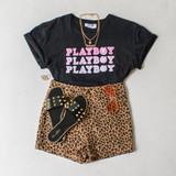 -Black Color -Pink Playboy Print -Crew Neck -Short Sleeves -Crop Top  Materials: 100% Cotton  DZ21E188 TEE B/PBP
