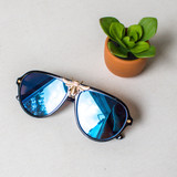 -Black Aviator Frame -UV 400 Protection  -Gold Accents -Lenses Come in Black, Blue, and Yellow