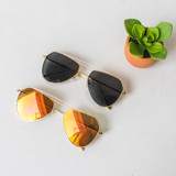 -Gold Frame -Wire Aviator Style -UV 400 Protection  -Lenses Come in Black and Yellow