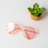 -Gold Wire Frame -Aviator Style -UV 400 Protection  -Pink Lenses