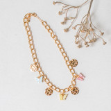 -Gold Chain -Colorful Butterfly Charms -Gold Medallions -Clasp Closure -Choker -Necklace   0521 CHOKER BUTTERFLY 12