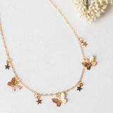 -Gold Chain -Butterfly Charms -Star Charms -Clasp Closure -Choker -Necklace   0521 CHOKER BUTTERSTARS 12