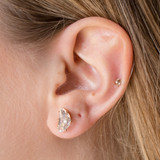 -Gold -Crescent Diamonds -Gold Earring Posts -Studs -Earrings  0521 STUD EARRING GCRESCENT