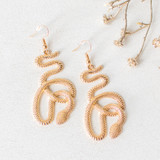 -Gold -Serpent Design -Clear Earring Posts -Dangle  -Earrings  0521 DANGLE EARRINGS SNAKES
