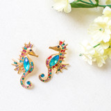 -Gold with Colorful Gemstones -Seahorse Design -Clear Earring Posts -Statement Earrings -Earrings   0521 DANGLE SEAHORSE EARRING
