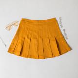-Mustard Color -Zipper Closure -Pleated -Tennis Skirt -Skirt  Materials: 100% Polyester  HF22A771 SKIRT YEL