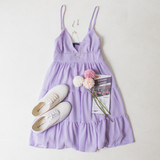 -Lilac Color -Adjustable Spaghetti Straps -V-Neckline -Smocked Back -Tiered Style -Lined -Dress  Materials: 100% Polyester   HF21E946 DRESS PRP