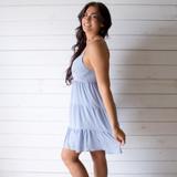 -Baby Blue Color -Adjustable Spaghetti Straps -V-Neckline -Smocked Back -Tiered Style -Lined -Dress  Materials: 100% Polyester  HF21E946 DRESS BLU
