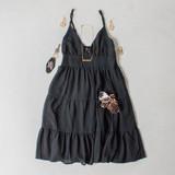 -Black Color -Adjustable Spaghetti Straps -V-Neckline -Smocked Back -Tiered Style -Lined -Dress  Materials: 100% Polyester  HF21E946 DRESS BLK