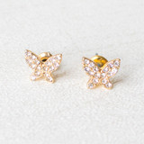 -Gold -Rhinestone Butterfly -Gold Earring Posts -Studs -Earrings  0521 STUD EARRING BUTTERFLY STUD
