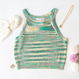 -Green Color -Brown and Cream Stripes -Racerback Straps -Breathable Fabric -Crochet Sweater Pattern -Tank Top  Materials: 100% Acrylic   CSW5077 CROP GRN