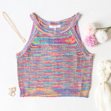 -Hot Pink Multi-Color -Yellow, Blue, and Purple Stripes -Racerback Straps -Breathable Fabric -Crochet Sweater Pattern -Tank Top  Materials: 100% Acrylic   CSW5077 CROP PNK