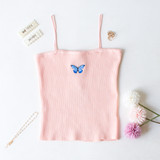 -Peach Color -Blue Butterfly on Front -Spagetti Straps -Ribbed Material -Tank Top -Crop Length  Materials: 85% Rayon | 10% Nylon | 5% Spandex  CT5076 CROP PNK