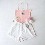 -Peach Color -Blue Butterfly on Front -Spagetti Straps -Ribbed Material -Tank Top -Crop Length  Materials: 85% Rayon   10% Nylon   5% Spandex  CT5076 CROP PNK