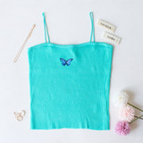 -Teal Color -Blue Butterfly on Front -Spagetti Straps -Ribbed Material -Tank Top -Crop Length  Materials: 85% Rayon | 10% Nylon | 5% Spandex  CT5076 CROP GRN