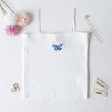 -White Color -Blue Butterfly on Front -Spagetti Straps -Ribbed Material -Tank Top -Crop Length  Materials: 85% Rayon | 10% Nylon | 5% Spandex  CT5076 CROP WHT