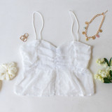 -White Color -Swiss Dot -Spagetti Straps -Ruched in Front -Ruffle on Bottom -Crop Top Length -Tank Top  Materials: 100% Polyester  HF21G454 CROP WHT