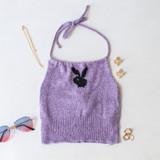 -Purple Color -White Playboy Print -Halter Top -Elastic at Bottom -Halter Ties at Neck  Materials: 100% Acrylic  CT5268 HALT PRP