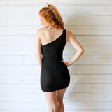 -Black Dress -One Shoulder -Ribbed -Ruched on Sides -Dress  Materials: 100% Polyester  49793 DRESS BLK