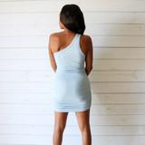 -Baby Blue Dress -One Shoulder -Ribbed -Ruched on Sides -Dress  Materials: 100% Polyester  49793 DRESS BLU