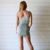-Sage Dress -One Shoulder -Ribbed -Ruched on Sides -Dress  Materials: 100% Polyester  49793 DRESS GRN