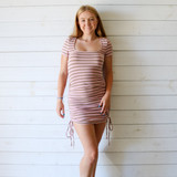 -Pink and Green Stripes -Scoop Neckline -Short Sleeves -Ribbed -Ruching on Sides -Dress  Materials: 95% Polyester | 5% Spandex  IMD6102 DRESS PNKS
