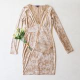 -Tan Color -Crushed Velvet -Lace Neckline -Long Sleeves -Deep V-Neck -Dress  Materials: 92% Polyester | 8% Spandex  VD37700 DRESS TAN