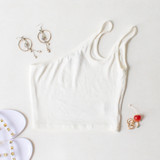 -White Color -Double Strap -One Shoulder -Ribbed -Crop Top  Materials: 95% Cotton   5% Spandex  CT5269 CROP WHT ONE SIZE