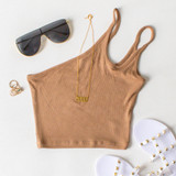 -Tan Color -Double Strap -One Shoulder -Ribbed -Crop Top  Materials: 95% Cotton | 5% Spandex  CT5269 CROP TAN ONE SIZE