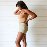 -Tan Color -Double Strap -One Shoulder -Ribbed -Crop Top  Materials: 95% Cotton   5% Spandex  CT5269 CROP TAN ONE SIZE