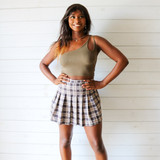 -Brown and Taupe Plaid Skirt -Pleated  -Back Zipper Closure -Lined with Shorts -Skirt  Materials: 100% Polyester  CS5074 SKIRT BRNP