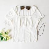 -White Color -Short Sleeve -Corset Waist Stitching -Ruffle Neckline -Lettuce Edge Hem -Top  Materials: 89% Polyester | 11% Spandex  TB8871 TEE WHT