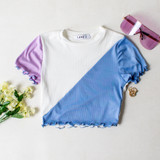 -White, Blue, and Lilac Colors -Short Sleeve -Crew Neck -Ruffle Edge Bottom -Crop Top -Crop Tee  Materials: 91% Polyester | 9% Spandex  A825 TEE WHT