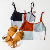 -Rust, Blue, and White Colors -Color Block Pattern -Ribbed -Crop Top -Tank  Materials: 89% Polyester | 9% Rayon | 2% Spandex  A532 TANK MNT