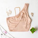 -Tan Color -One Shoulder -Keyhole Cutout -Lined -Crop Top  Materials: 95% Rayon   5% Spandex  TB9210 CROP TAN