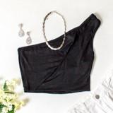 -Black Color -One Shoulder -Keyhole Cutout -Lined -Crop Top  Materials: 95% Rayon   5% Spandex  TB9210 CROP BLK
