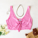-Pink Color -Thick Tank Straps -Ties in Front -V-Neck -Ribbed -Crop Top  Materials: 89% Polyester | 9% Rayon | 2% Spandex  TB9264 CROP PNK