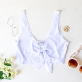 -White Color -Thick Tank Straps -Ties in Front -V-Neck -Ribbed -Crop Top  Materials: 89% Polyester   9% Rayon   2% Spandex  TB9264 CROP WHT
